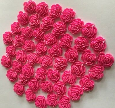 50 Fuschia Pink Glittery Resin Roses 2cm  for Bridal / Wedding / Crafts