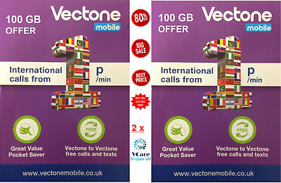 Vectone Mobile SIM - 100 GB OFFER TRIO ( 3 in 1)Pay As You Go (Buy 1 Get 1 Free)