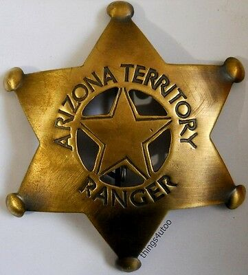 Arizona Territory Ranger western brass lawman badge #105AF