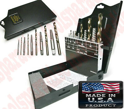 Left Handed Drill Bit Set Bolt Stud Screw Extractor Remover Tool Index Case
