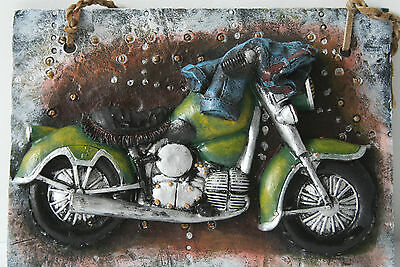 Vintage Motorcycle Plaque Wall Decor Open Road NEW
