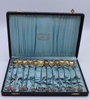 Vintage Set of Boxed Finnish Silver Spoons Twisted w/ Rose Flower - 813.H - 1934