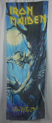 Authentic IRON MAIDEN Fear Of The Dark Silk-Like Fabric Door Poster Flag NEW