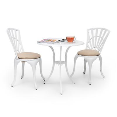 Garden Table & Chair Set Furniture Home Shop Cafe White 3 Pcs N +Seat Cushions