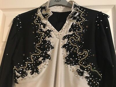Mens Artistic Ice and Roller Skating Outfit Costume Black & White Leotard
