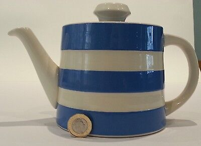T. G. GREEN CORNISHWARE Blue and White Teapot CIRCA 1980