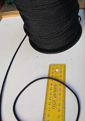 20m X 3mm BLACK DOUBLE BRAID WITH DYNEEMA® CORE YACHT & MARINE ROPE T:480kg -NEW