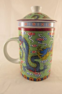 DRAGON TEA CUP with Infuser & Lid /3 Pc Chinese Oriental Mug