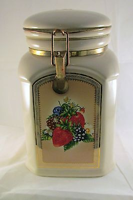 Knotts Berry Farm Ceramic Fruit Design Locking & Sealing Canister Cookie Jar