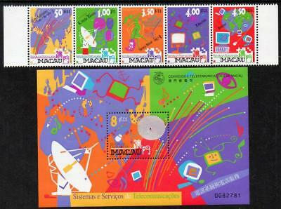 MACAO MNH 1999 SG1101-05 Telecommunications Services + M/S