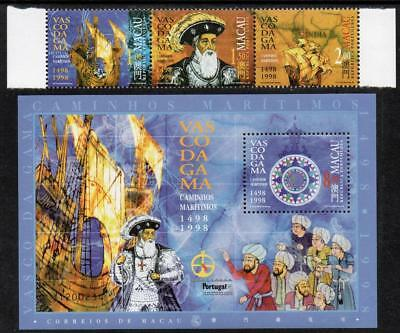 "MACAO MNH 1998 SG1044-46 Gama's Voyage  - Correctly Dated ""1498-1998"" + M/S"