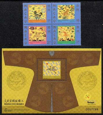 MACAO MNH 1998 SG1061-64 Civil and Military Insignia of the Mandarins + M/S