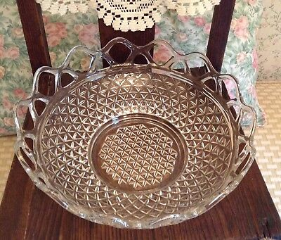 "Gorgeous 11"" Vintage Imperial Glass Lace Edge, Quilted Diamond Center 1960 Bowl"