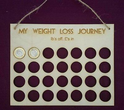 Wood £'s for lb's weight loss journey board tally motivation plaque fitness gift