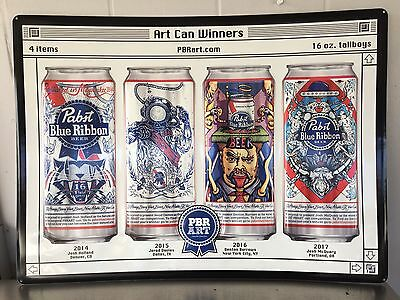 Pabst Blue Ribbon Lineage Art Can Tin Sign 2014-2017 Winners! 24x18 Large Size..