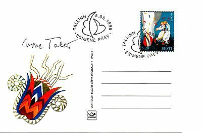 Estonia 1998 Ppc Stamp Designed By Vive Tolli Card Special Design And Signed