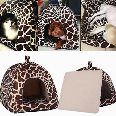 Soft Leopard Pet Dog Cat Bed House Kennel Dog Puppy Warm Cushion Basket Pad Fein