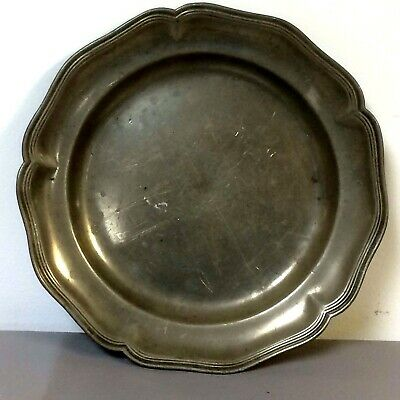 "19th Century or Earlier 10.5"" Pewter Plate Platter W/ Hallmark"