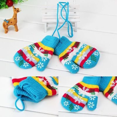 Outdoor Warm Touch Mitten Kids Knitted Gloves Full Finger Christmas Gift