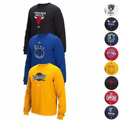 "NBA Adidas Team Color ""Primary Logo"" Graphic Longsleeve T-Shirt Collection Men's"