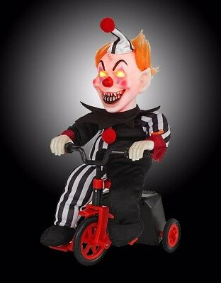 Scary Clown On Tricycle Animated Halloween Indoor Decorations Batteries Included