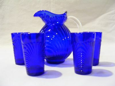 Cobalt Blue Small Pitcher And 4 Cordial Glasses