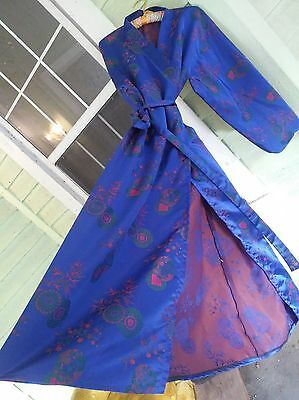 vtg blue silk satin embroidered floral long chinese robe kimono belted asian