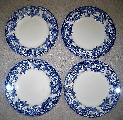 """Lot of 4  SPODE 10 1/2"""" Dinner Plates  Delamere Blue ~~ S3734-A7 ~~ EXC"""