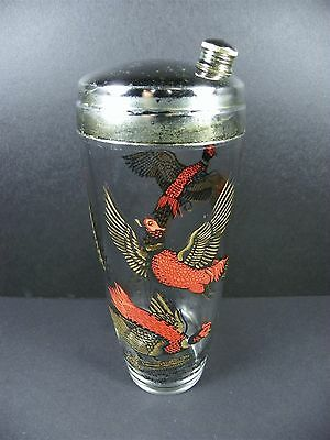 Vintage Hazel Atlas Pheasant Glass Martini Cocktail Shaker