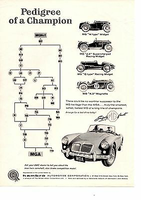 1958 Mg Mga  ~  Nice Original B&w Version Print Ad