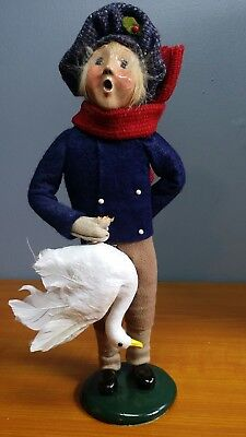 1994 Byers Choice The Carolers Young Boy & Christmas Goose- Very Nice!