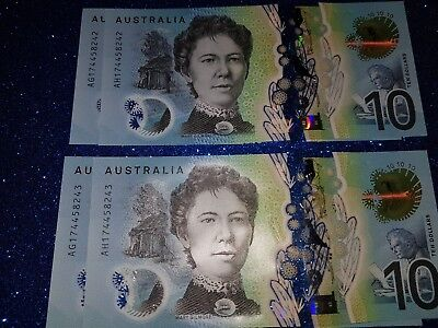 Australia New $10 Dollars 2017 Lowe/Fraser UNC RUNNING PREFIXES '4 NOTES'