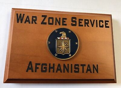 CIA War Zone Service Afghanistan Beveled Edge Wall Plaque