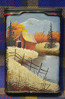 Unique Hand Painted VELVET Tobacco Can w/Black Paint & Farm Scene signed TRACY