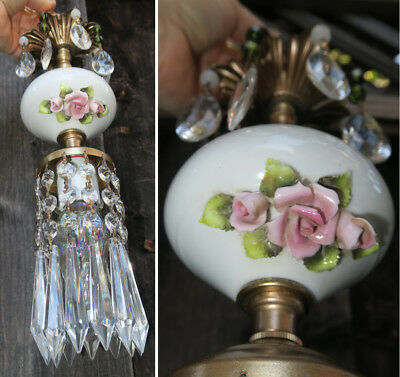 1 Vintage Capodimonte PInk ROSE porcelain Brass swag plug lamp Beaded chandelier