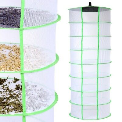 60cm x 8 Tiers Hydroponic Dry Net Indoor Plant Drying Rack For Grow Light Tent