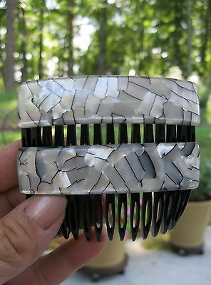 Vtg New Gray, Silver & Pearl Made In France Pair French Hair Side Combs Nos 70's