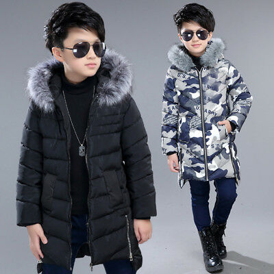Thick winter Kids boys Fur Collar Hooded Long Cotton Jacket Padded Coat  Parkas