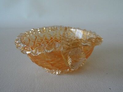 Antique  Glass Floral & Leaf Gold Dust Frosted Bowl Amber Glow