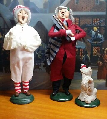 Lot Of 3- 1985/86/89 Byers Choice Scrooge/ Puppy & Caroler-Very Nice!