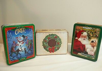 Lot of 3 Vintage Oreo Cookie Tin Containers 1990 1996 1997 Empty