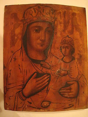 Antique 19c Russian Orthodox Hand Painted on wood Icon Mother of God