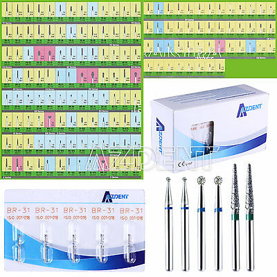 GER 500PCS Dental Diamond Tooth Drill Burs 150 Types for High Speed Handpiece