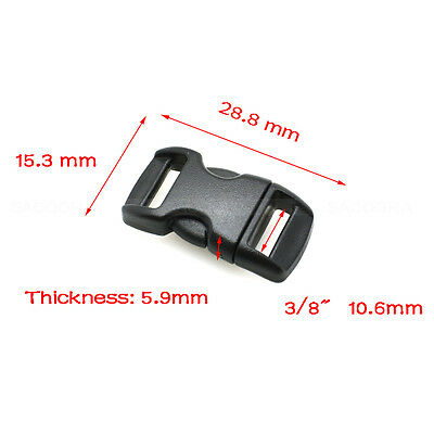 "10mm(3/8"") Contoured Side Release Buckles For Paracord Bracelet Black"