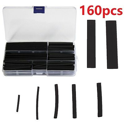 160X Black Heat Shrink Tubing Tube Cable Sleeving Wire Wrap Shrinkage Heatshrink