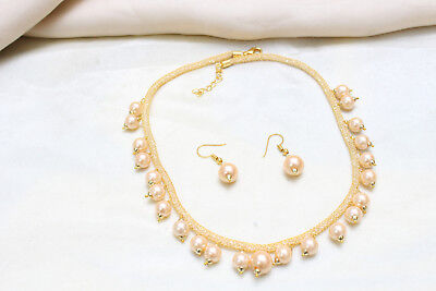 Indian Gold Tone Moti Necklace Earring Set Bollywood Women Fashionable Jewelry