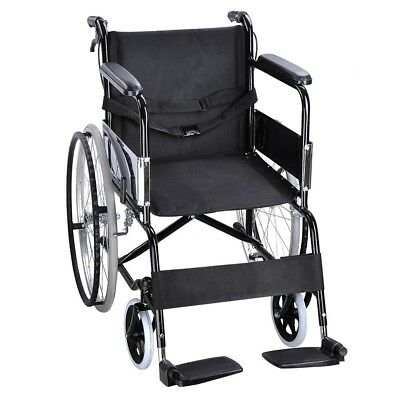 24 Inch Folding Wheelchair with Park Brakes Transport Mobility Aid Lightweight