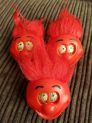 "3 x Vintage 2003 Comic Relief Red Nose Day Nose ""The Big Hair Do Nose""  Complete"