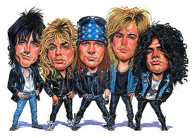 Guns N Roses Band Caricature 80's Heavy Metal Sticker or Magnet