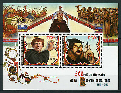 Ivory Coast 2017 MNH Reformation 500th Anniv Martin Luther Calvin 2v M/S Stamps